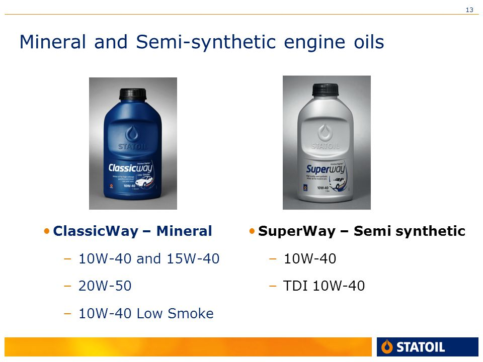13 Mineral and Semi-synthetic engine oils ClassicWay – Mineral – 10W-40 and 15W-40 – 20W-50 – 10W-40 Low Smoke SuperWay – Semi synthetic – 10W-40 – TDI 10W-40