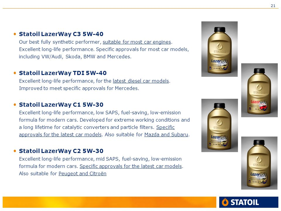 21 Statoil LazerWay C3 5W-40 Our best fully synthetic performer, suitable for most car engines.