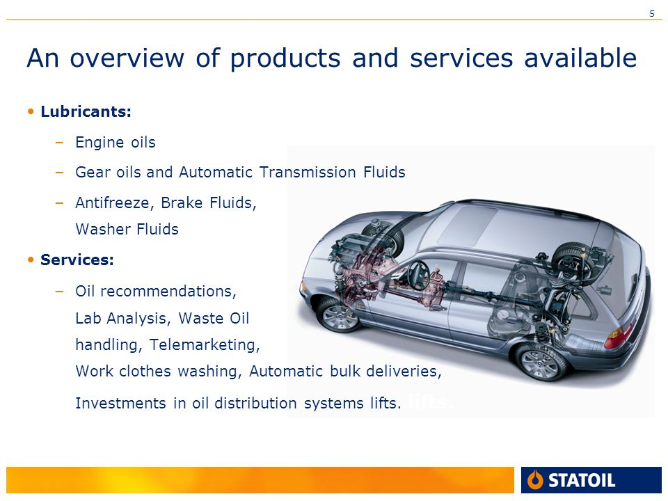 5 An overview of products and services available Lubricants: – Engine oils – Gear oils and Automatic Transmission Fluids – Antifreeze, Brake Fluids, Washer Fluids Services: – Oil recommendations, Lab Analysis, Waste Oil handling, Telemarketing, Work clothes washing, Automatic bulk deliveries, Investments in oil distribution systems lifts.