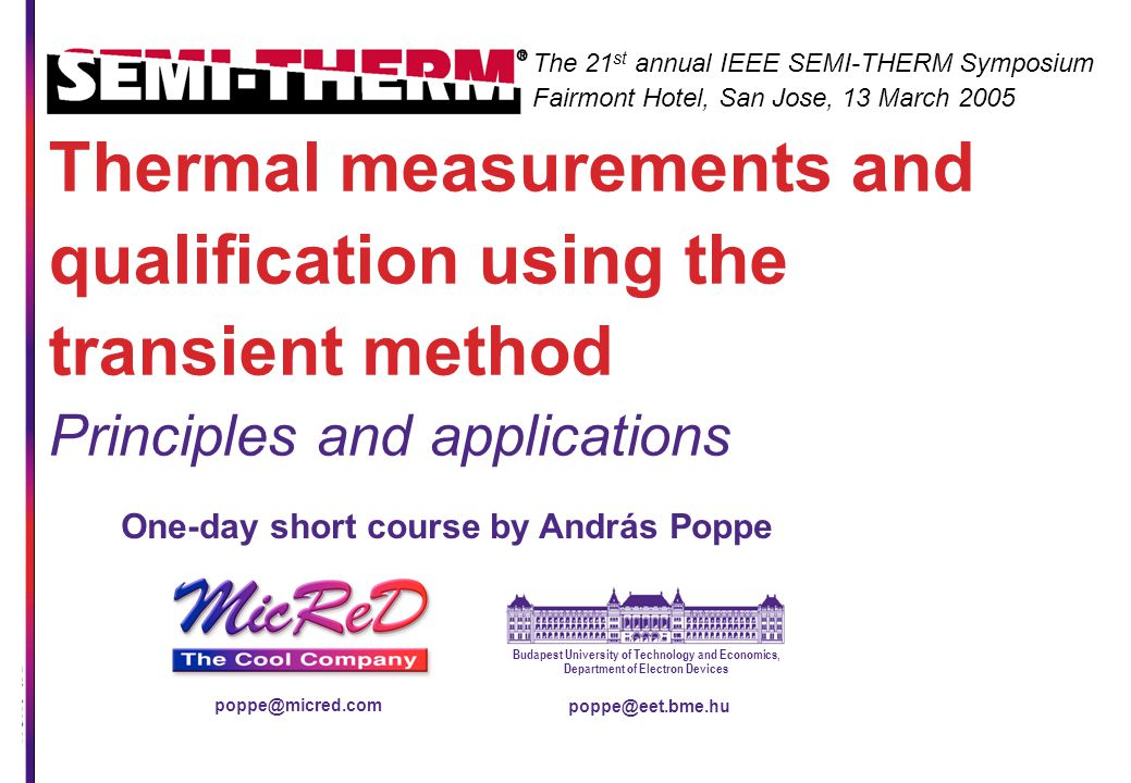 Thermal measurements and qualification using the transient method: principles and applications 1 Thermal measurements and qualification using the tran