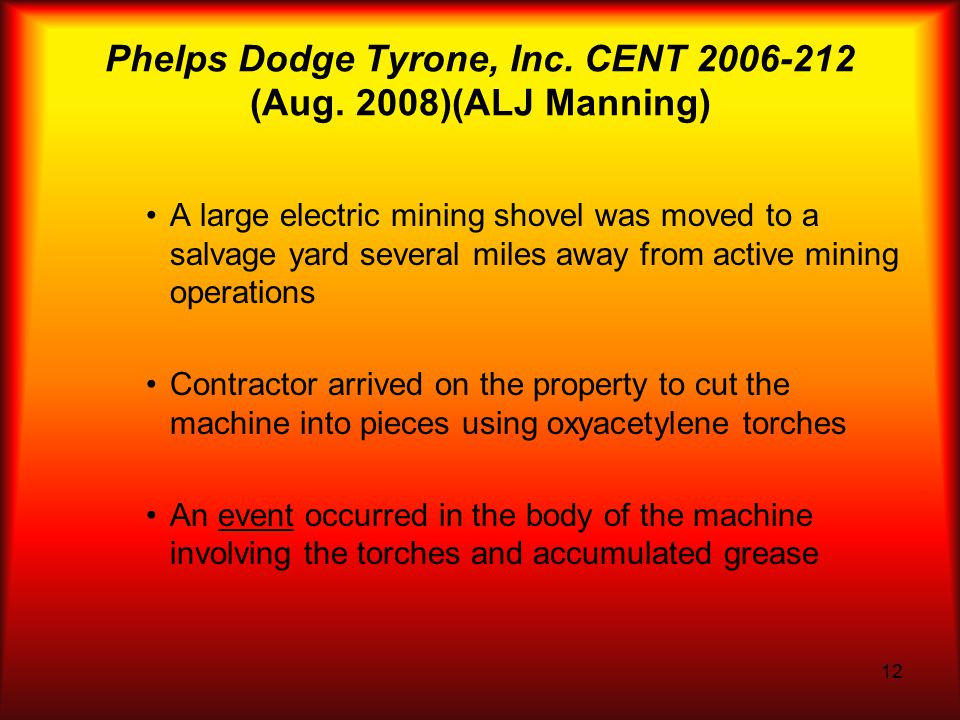12 Phelps Dodge Tyrone, Inc. CENT 2006-212 (Aug.