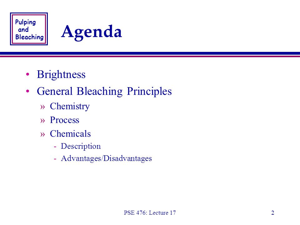 Pulping and Bleaching PSE 476: Lecture 172 Agenda Brightness General Bleaching Principles »Chemistry »Process »Chemicals -Description -Advantages/Disadvantages Brightness General Bleaching Principles »Chemistry »Process »Chemicals -Description -Advantages/Disadvantages