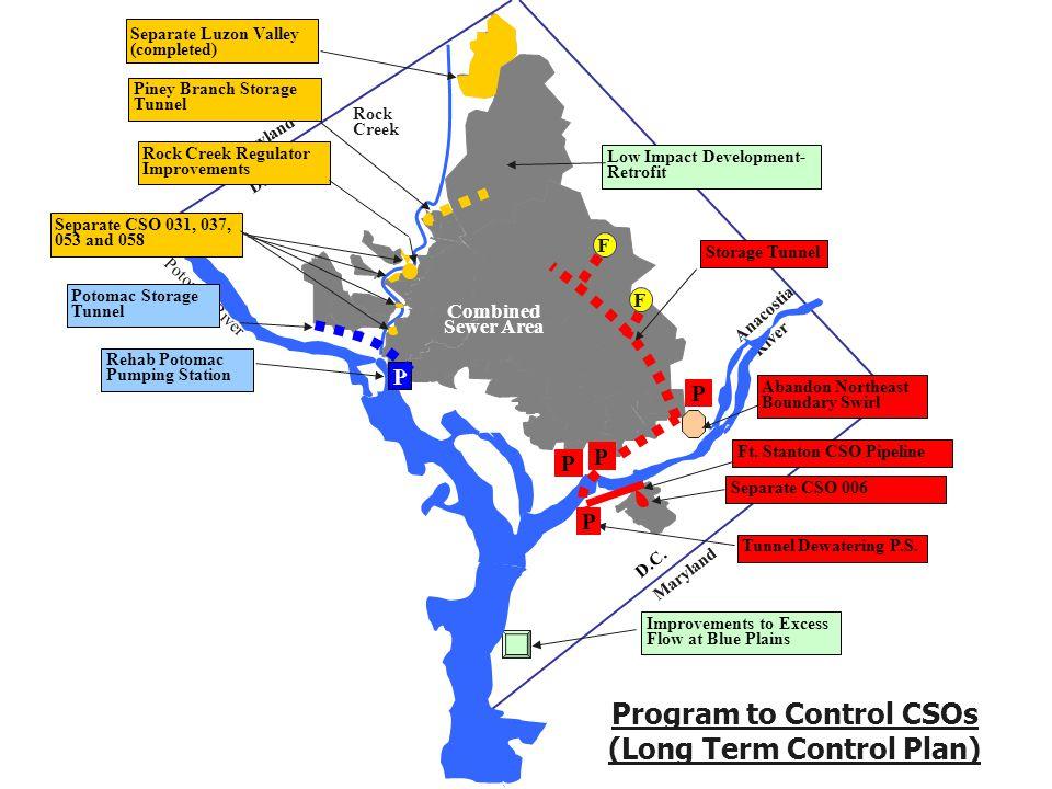 Program to Control CSOs (Long Term Control Plan) Combined Sewer Area Maryland D.C Potomac River Rock Creek Anacostia River Maryland D.C.