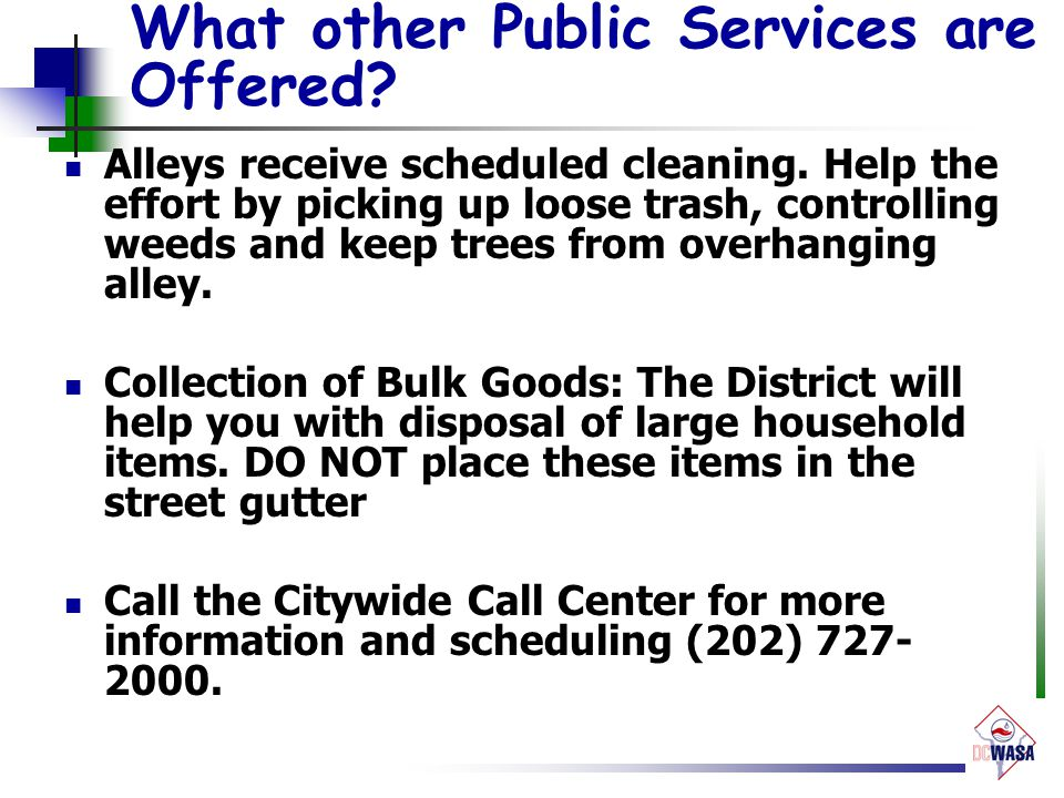 What other Public Services are Offered. Alleys receive scheduled cleaning.