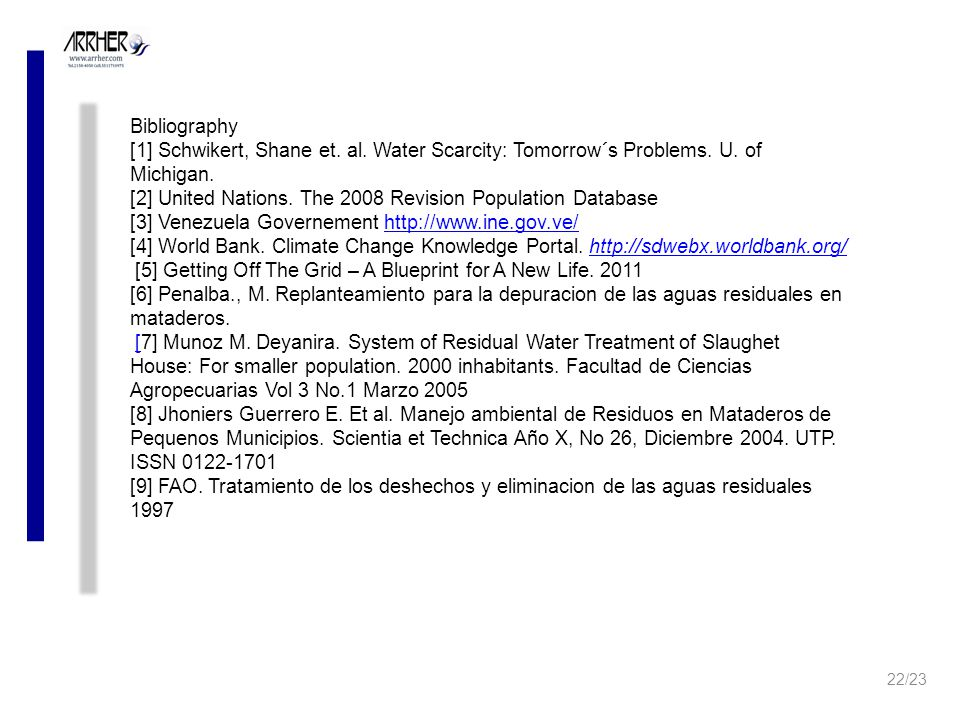 Bibliography [1] Schwikert, Shane et. al. Water Scarcity: Tomorrow´s Problems.