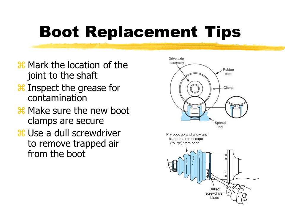 Boot Replacement Tips zMark the location of the joint to the shaft zInspect the grease for contamination zMake sure the new boot clamps are secure zUse a dull screwdriver to remove trapped air from the boot