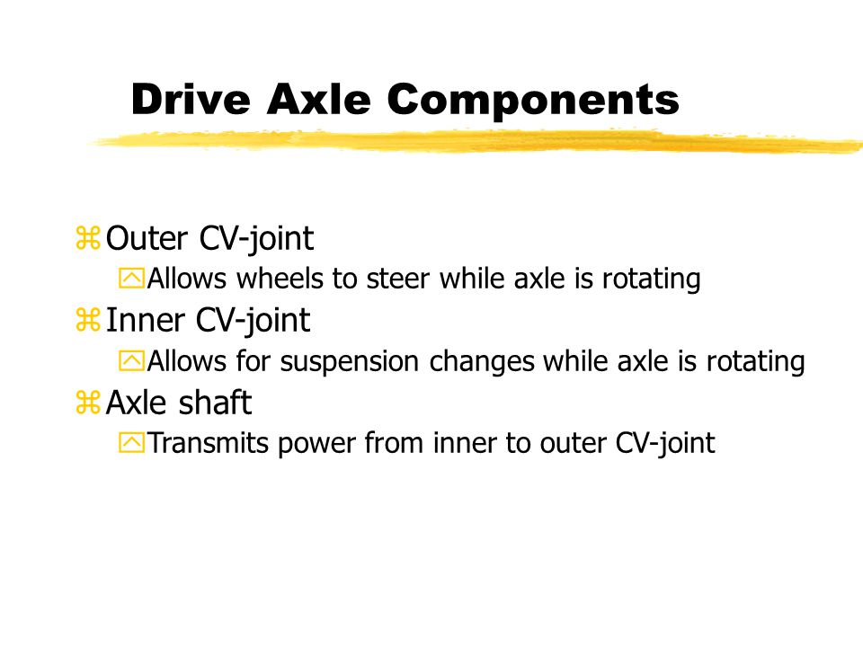 Drive Axle Components zOuter CV-joint yAllows wheels to steer while axle is rotating zInner CV-joint yAllows for suspension changes while axle is rotating zAxle shaft yTransmits power from inner to outer CV-joint