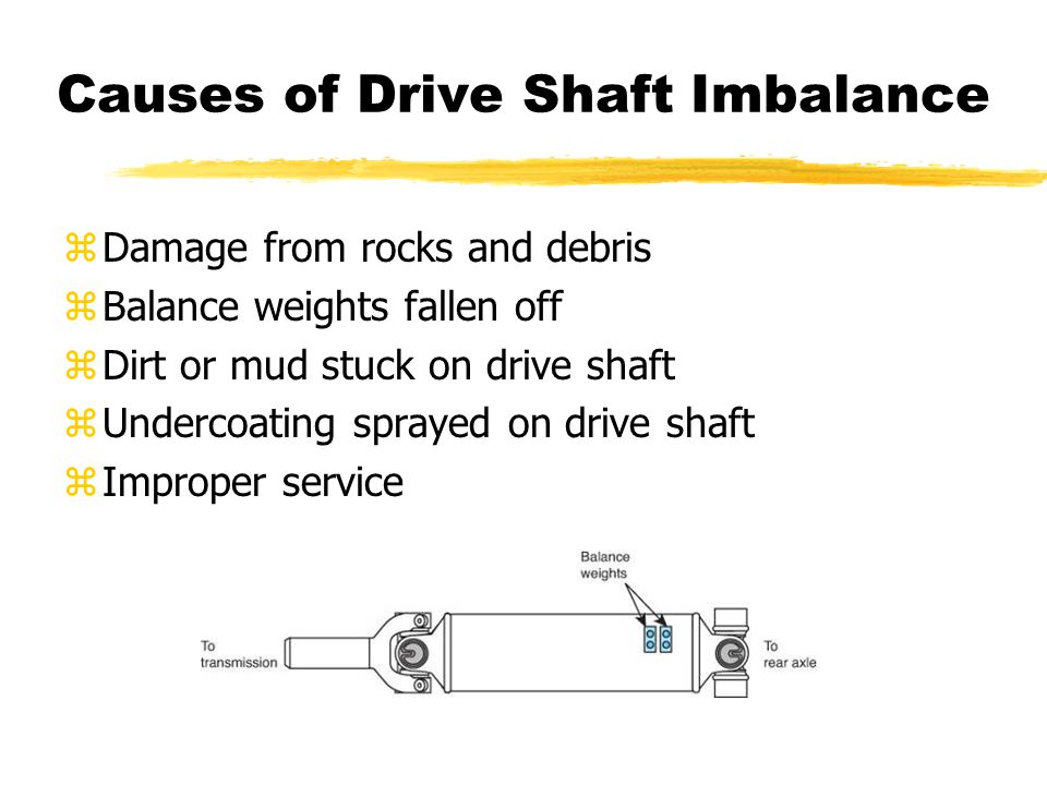 Causes of Drive Shaft Imbalance zDamage from rocks and debris zBalance weights fallen off zDirt or mud stuck on drive shaft zUndercoating sprayed on d