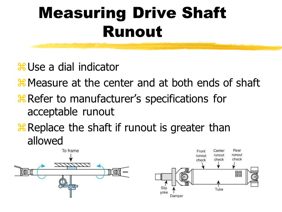 Measuring Drive Shaft Runout zUse a dial indicator zMeasure at the center and at both ends of shaft zRefer to manufacturer's specifications for acceptable runout zReplace the shaft if runout is greater than allowed