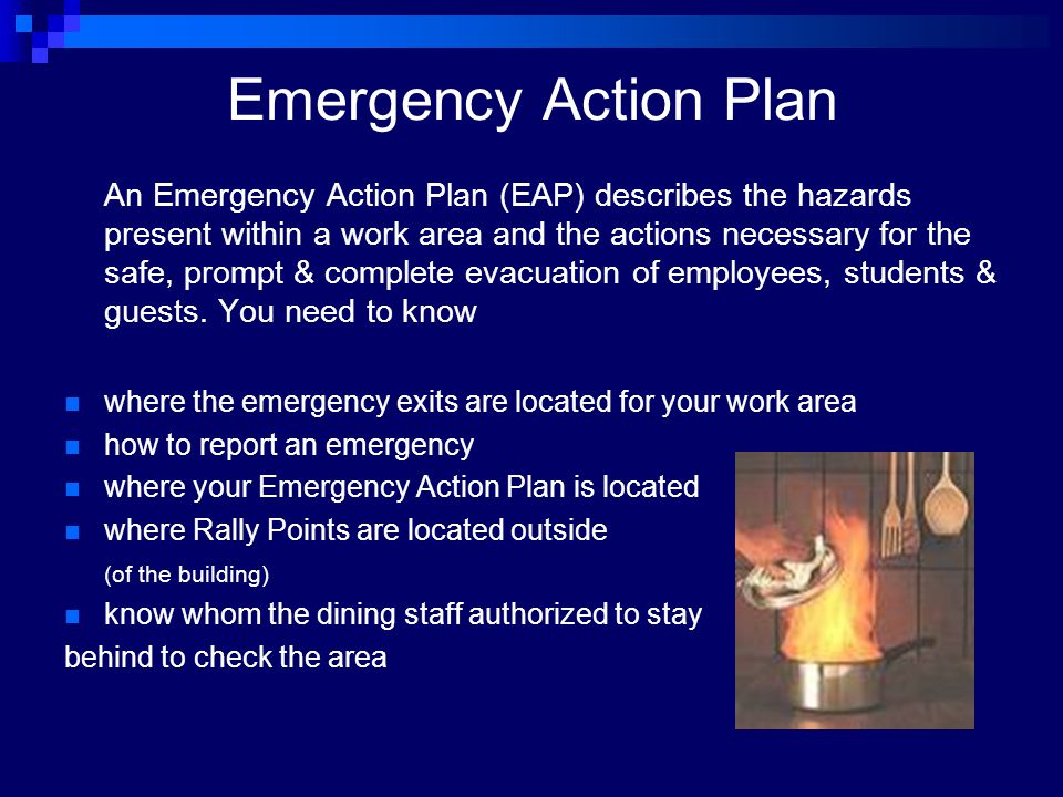 Emergency Action Plan An Emergency Action Plan (EAP) describes the hazards present within a work area and the actions necessary for the safe, prompt &