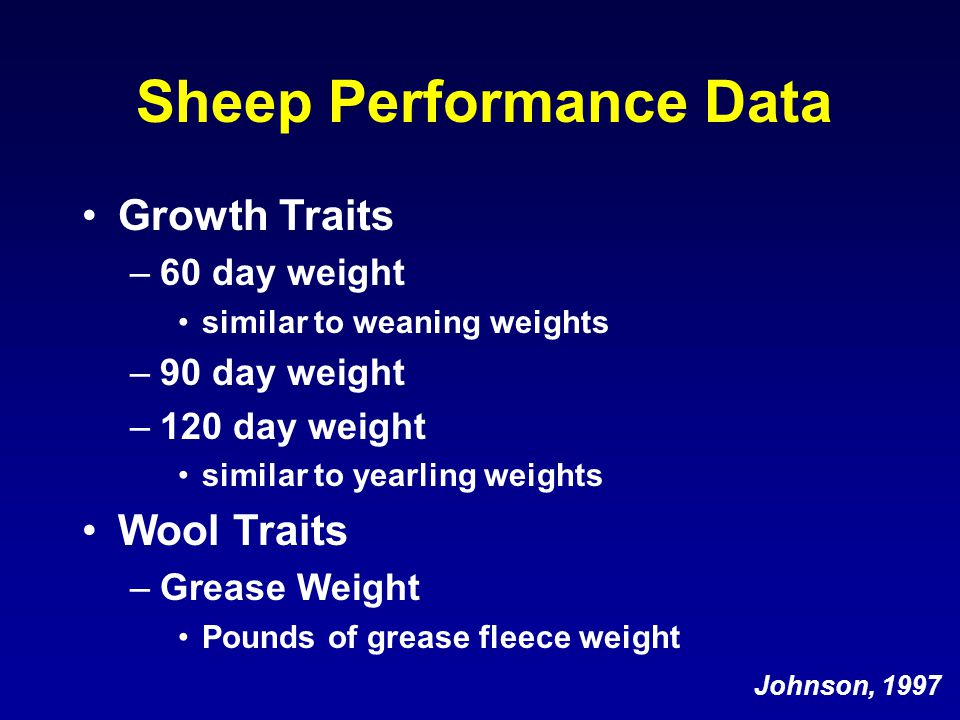 Sheep Performance Data Growth Traits –60 day weight similar to weaning weights –90 day weight –120 day weight similar to yearling weights Wool Traits –Grease Weight Pounds of grease fleece weight Johnson, 1997