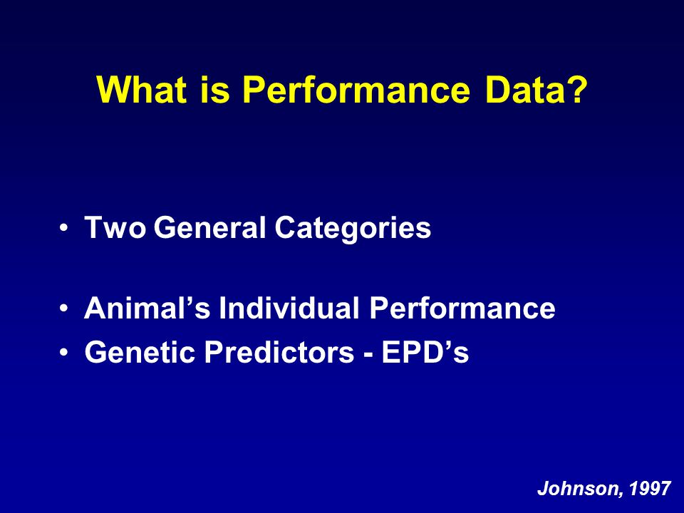 What is Performance Data.