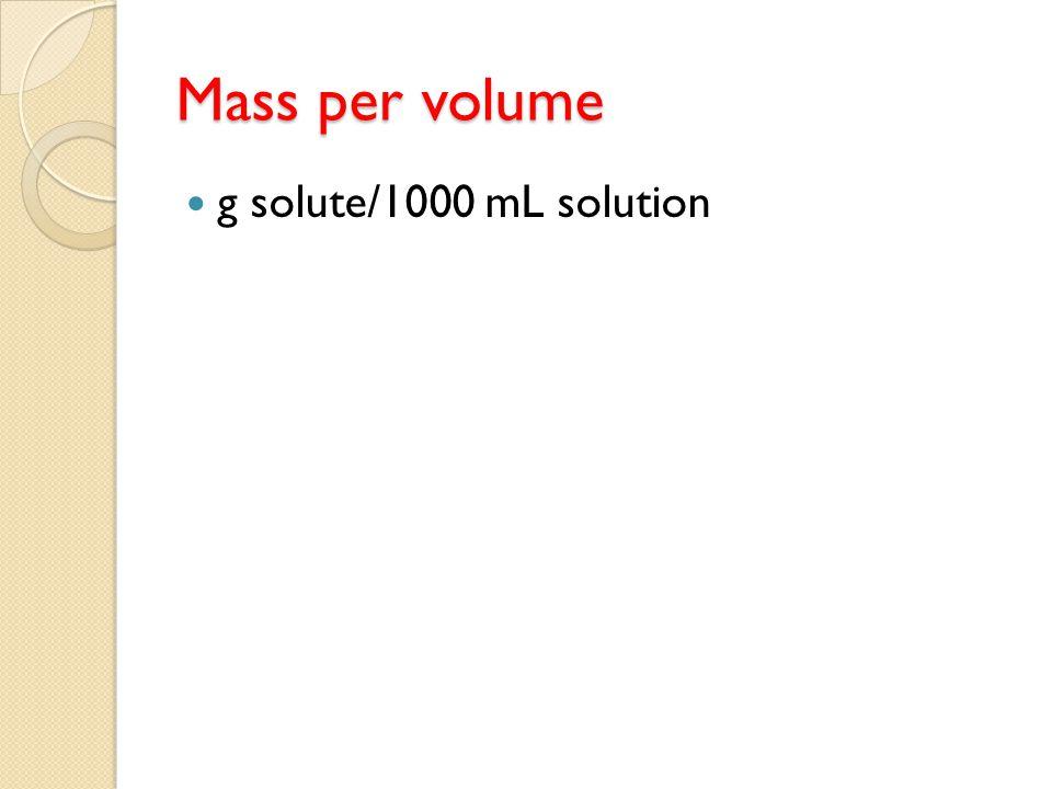 Mass per volume g solute/1000 mL solution