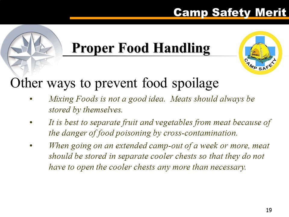Camp Safety Merit 19 Proper Food Handling Proper Food Handling Other ways to prevent food spoilage Mixing Foods is not a good idea.