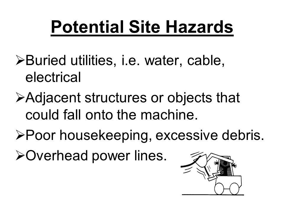 Potential Site Hazards  Buried utilities, i.e.