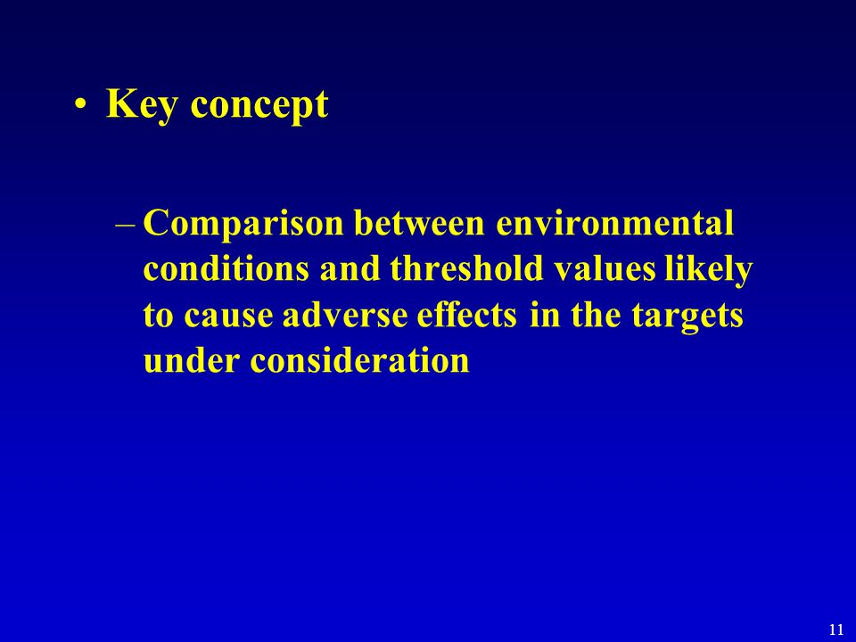 11 Key concept –Comparison between environmental conditions and threshold values likely to cause adverse effects in the targets under consideration