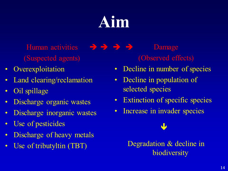 14 Aim Human activities (Suspected agents) Overexploitation Land clearing/reclamation Oil spillage Discharge organic wastes Discharge inorganic wastes Use of pesticides Discharge of heavy metals Use of tributyltin (TBT) Damage (Observed effects) Decline in number of species Decline in population of selected species Extinction of specific species Increase in invader species Degradation & decline in biodiversity  
