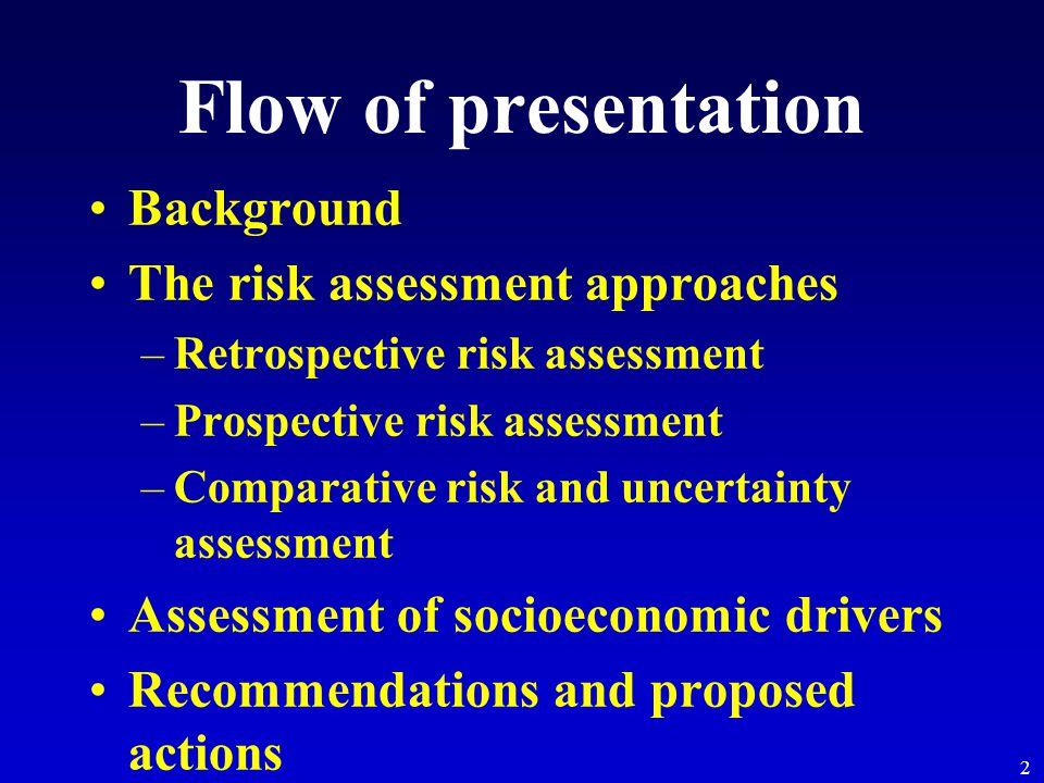 2 Flow of presentation Background The risk assessment approaches –Retrospective risk assessment –Prospective risk assessment –Comparative risk and unc