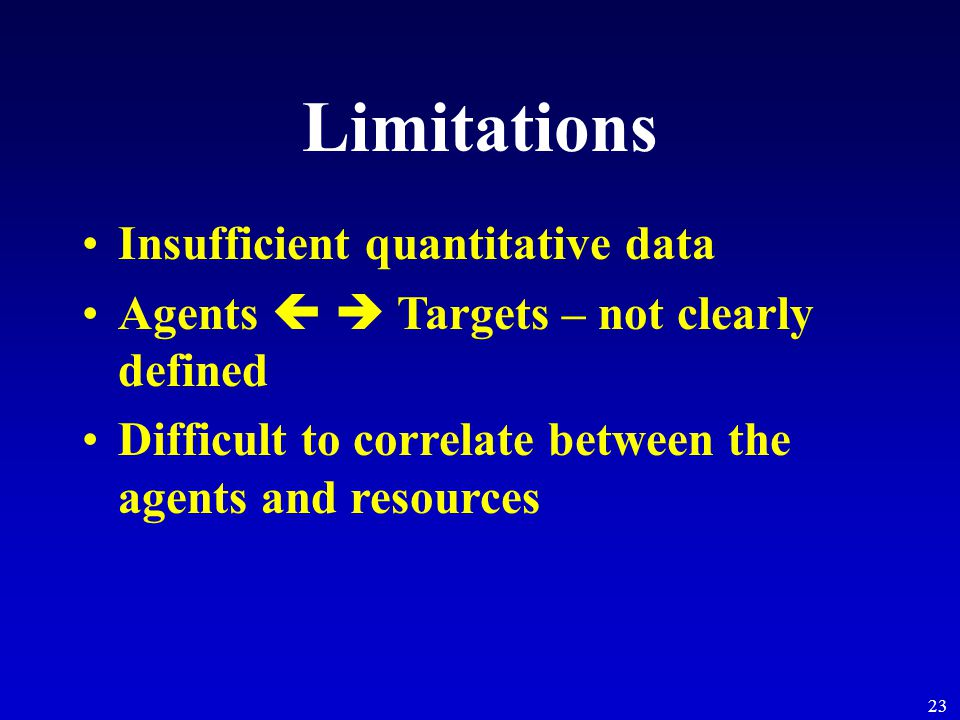 23 Limitations Insufficient quantitative data Agents   Targets – not clearly defined Difficult to correlate between the agents and resources
