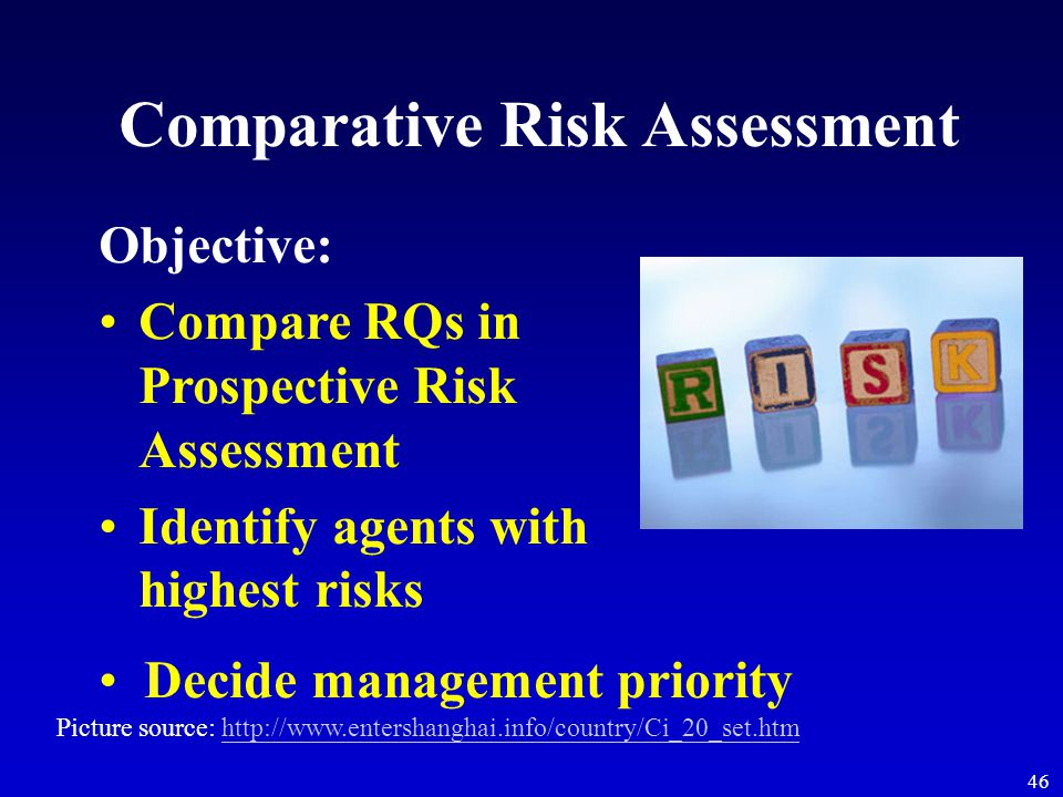 46 Comparative Risk Assessment Objective: Compare RQs in Prospective Risk Assessment Identify agents with highest risks Decide management priority Pic