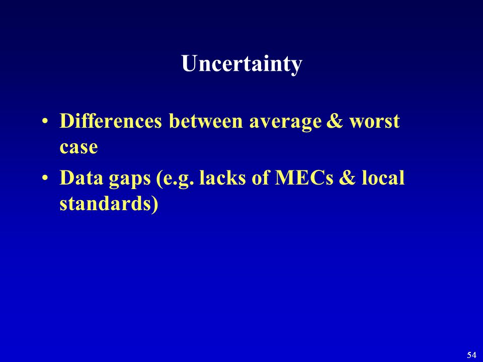 54 Uncertainty Differences between average & worst case Data gaps (e.g. lacks of MECs & local standards)