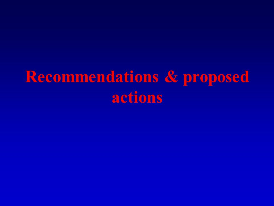Recommendations & proposed actions