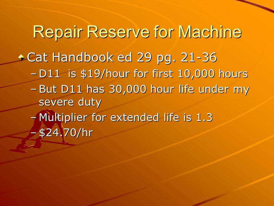 Repair Reserve for Machine Cat Handbook ed 29 pg.
