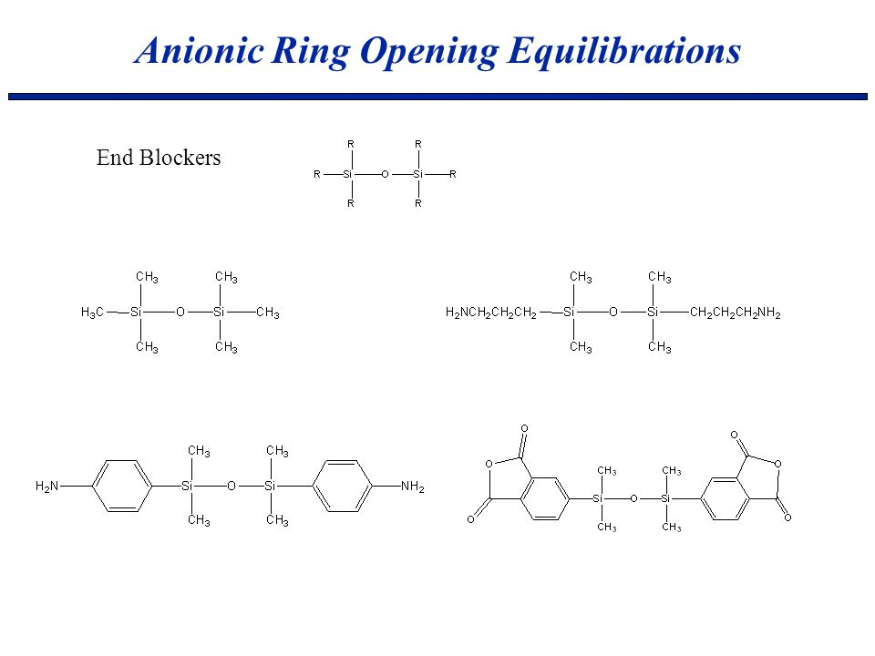 Anionic Ring Opening Equilibrations End Blockers