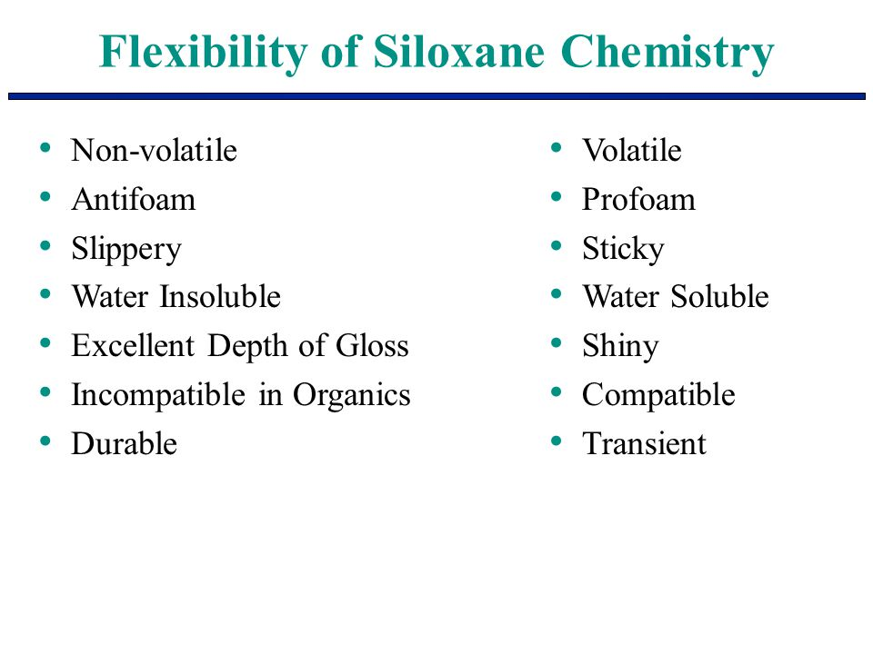 Flexibility of Siloxane Chemistry Non-volatile Antifoam Slippery Water Insoluble Excellent Depth of Gloss Incompatible in Organics Durable Volatile Pr