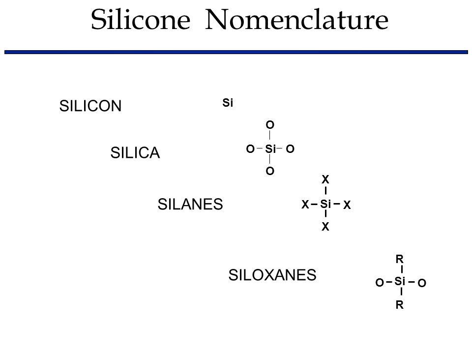 SILICA O O Si O O SILICON Si SILANES Si X X X X SILOXANES O R R Si O Silicone Nomenclature