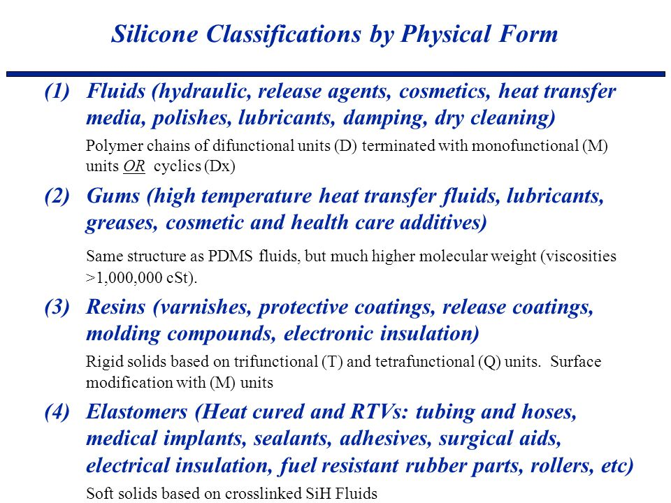 (1)Fluids (hydraulic, release agents, cosmetics, heat transfer media, polishes, lubricants, damping, dry cleaning) Polymer chains of difunctional unit