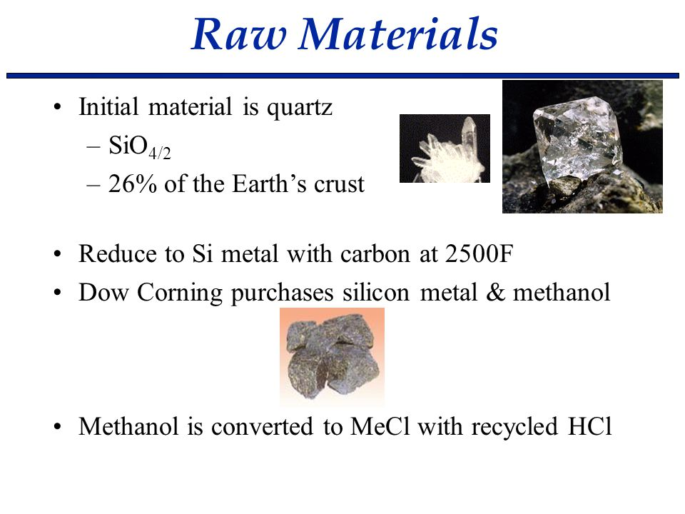 Raw Materials Initial material is quartz –SiO 4/2 –26% of the Earth's crust Reduce to Si metal with carbon at 2500F Dow Corning purchases silicon meta