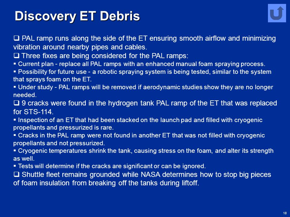 18 Discovery ET Debris  PAL ramp runs along the side of the ET ensuring smooth airflow and minimizing vibration around nearby pipes and cables.  Thr