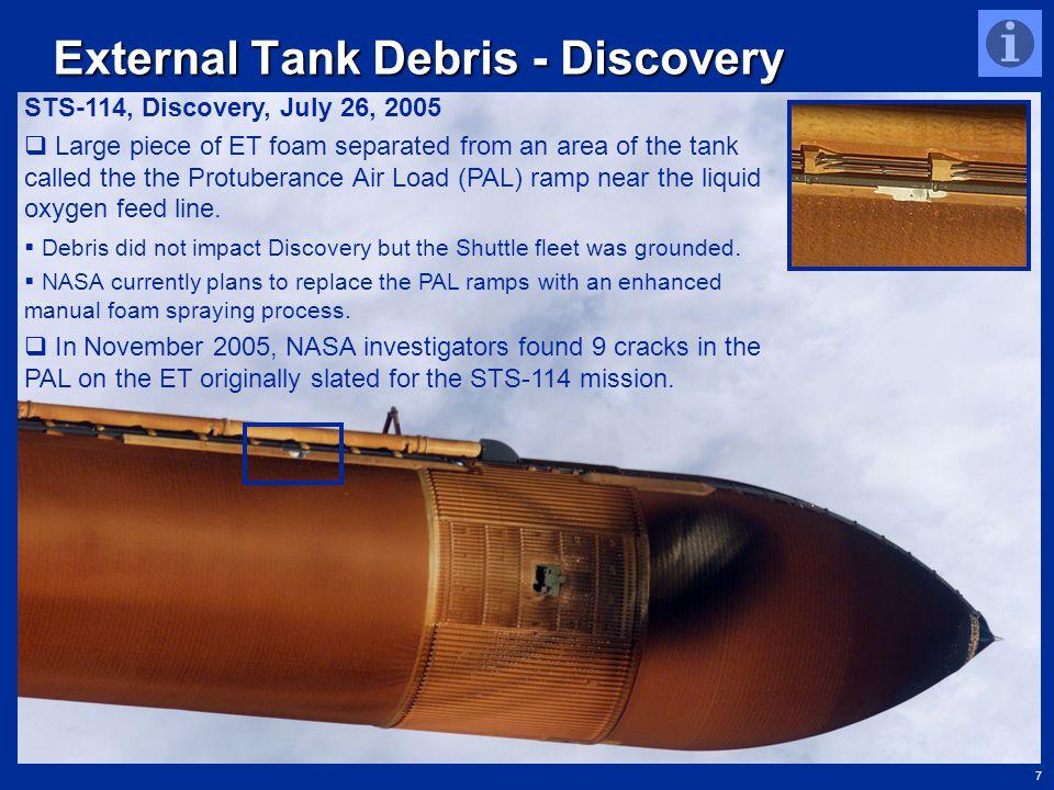 7 http://www.nasa.gov/returntoflight/multimedia/external_tank_images.html External Tank Debris - Discovery STS-114, Discovery, July 26, 2005  Large p