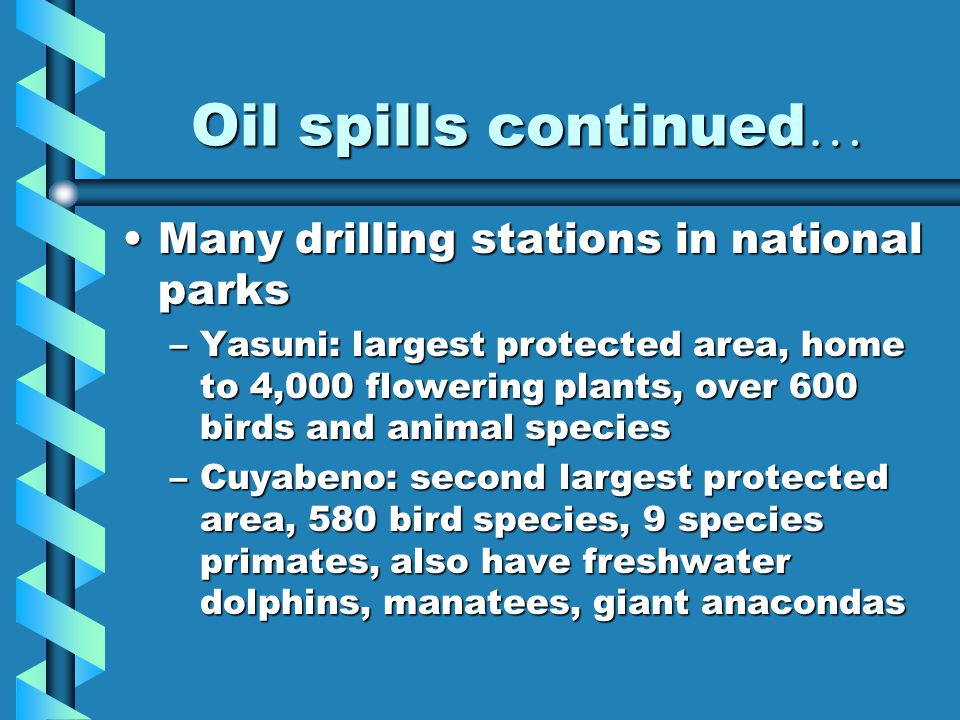 Oil spills continued … Many drilling stations in national parksMany drilling stations in national parks –Yasuni: largest protected area, home to 4,000