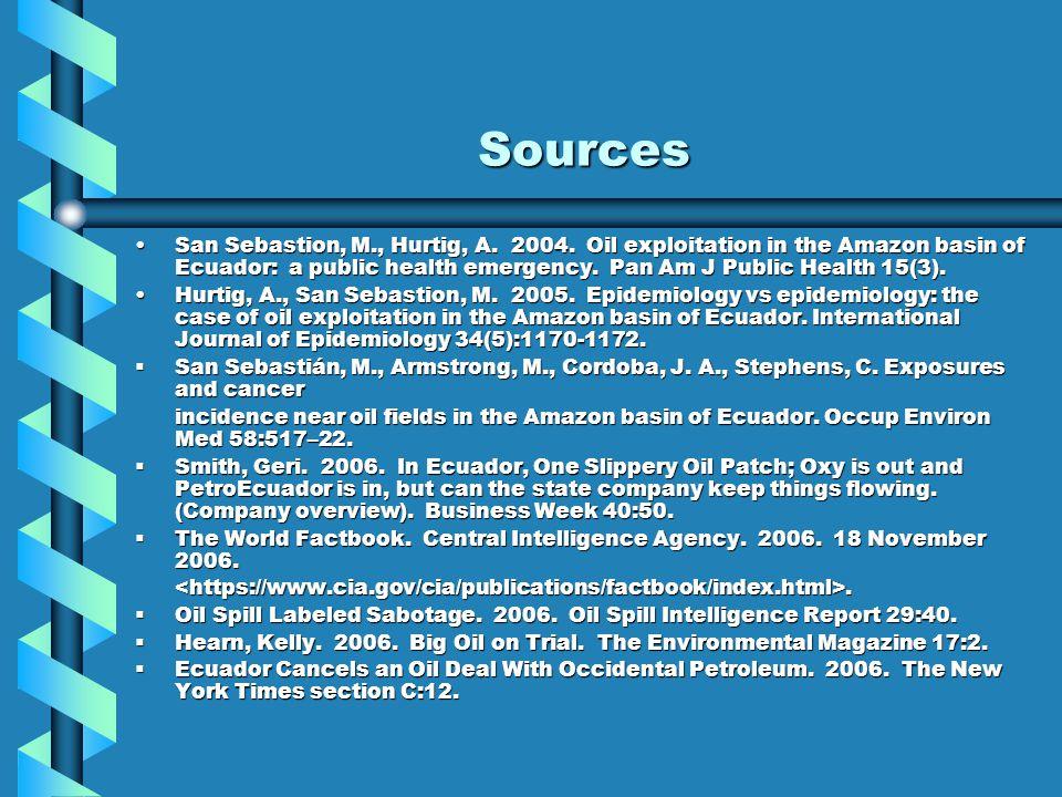 Sources San Sebastion, M., Hurtig, A. 2004. Oil exploitation in the Amazon basin of Ecuador: a public health emergency. Pan Am J Public Health 15(3).S