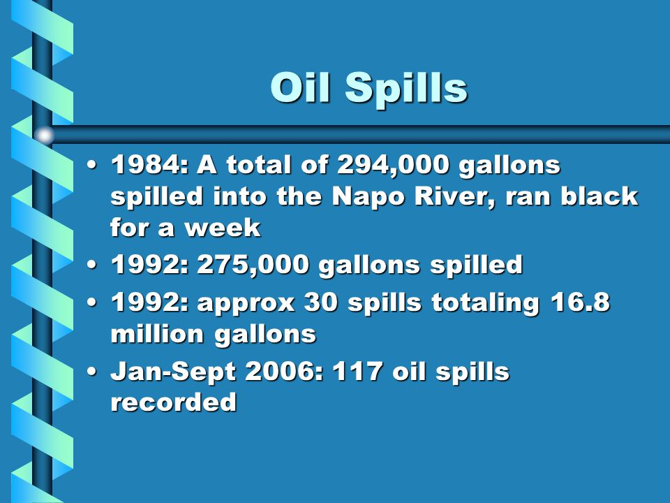 Oil Spills 1984: A total of 294,000 gallons spilled into the Napo River, ran black for a week1984: A total of 294,000 gallons spilled into the Napo Ri