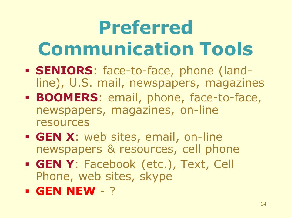 14 Preferred Communication Tools  SENIORS: face-to-face, phone (land- line), U.S.