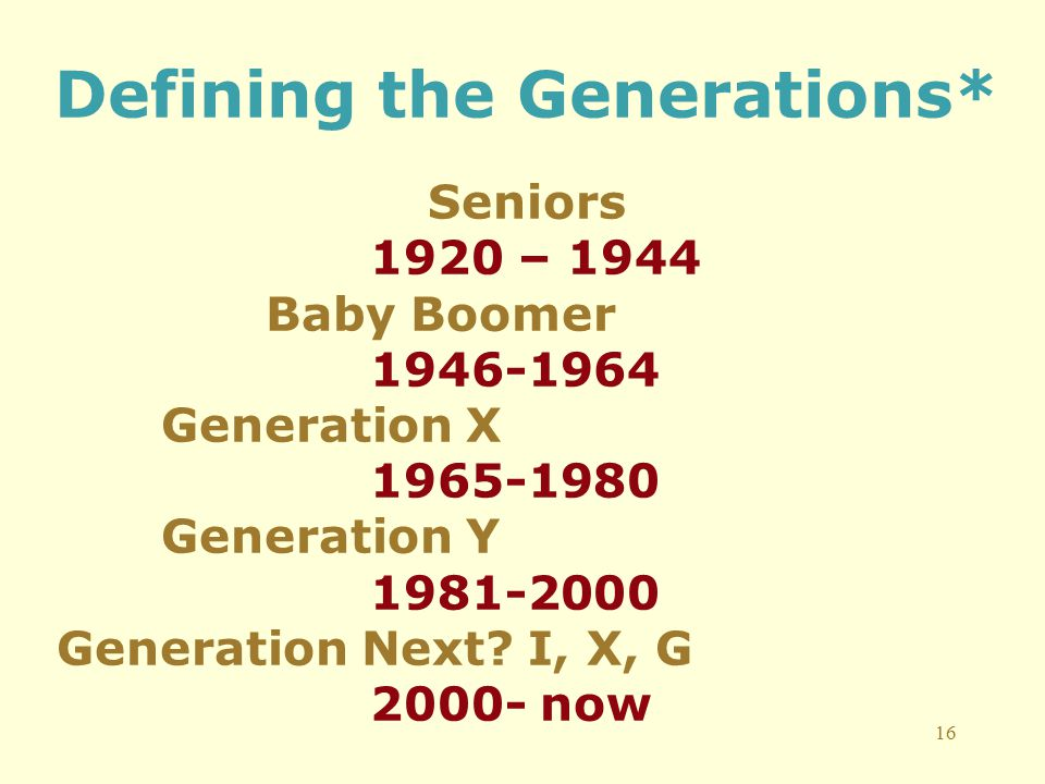 16 Defining the Generations* Seniors 1920 – 1944 Baby Boomer 1946-1964 Generation X 1965-1980 Generation Y 1981-2000 Generation Next.
