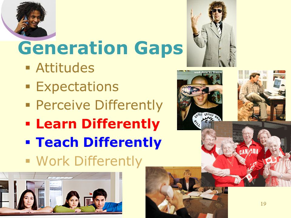 19 Generation Gaps  Attitudes  Expectations  Perceive Differently  Learn Differently  Teach Differently  Work Differently