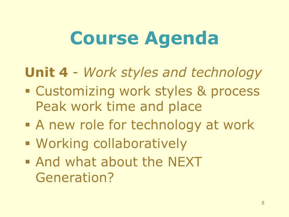 Course Agenda Unit 4 - Work styles and technology  Customizing work styles & process Peak work time and place  A new role for technology at work  Working collaboratively  And what about the NEXT Generation.