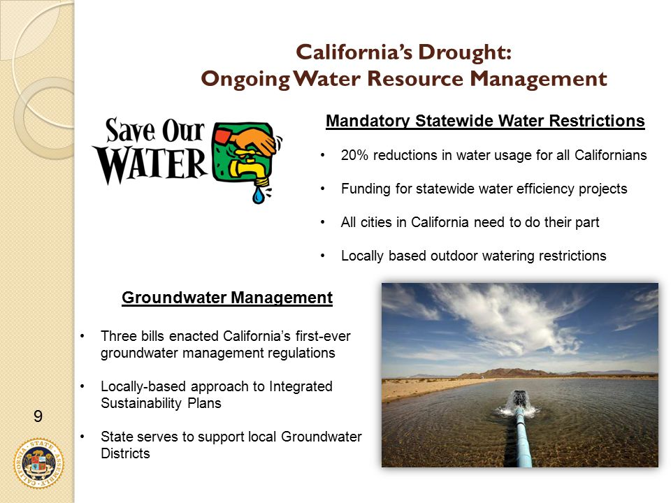 California's Drought: Ongoing Water Resource Management 9 Lake Oroville August 19, 2014 Groundwater Management Three bills enacted California's first-