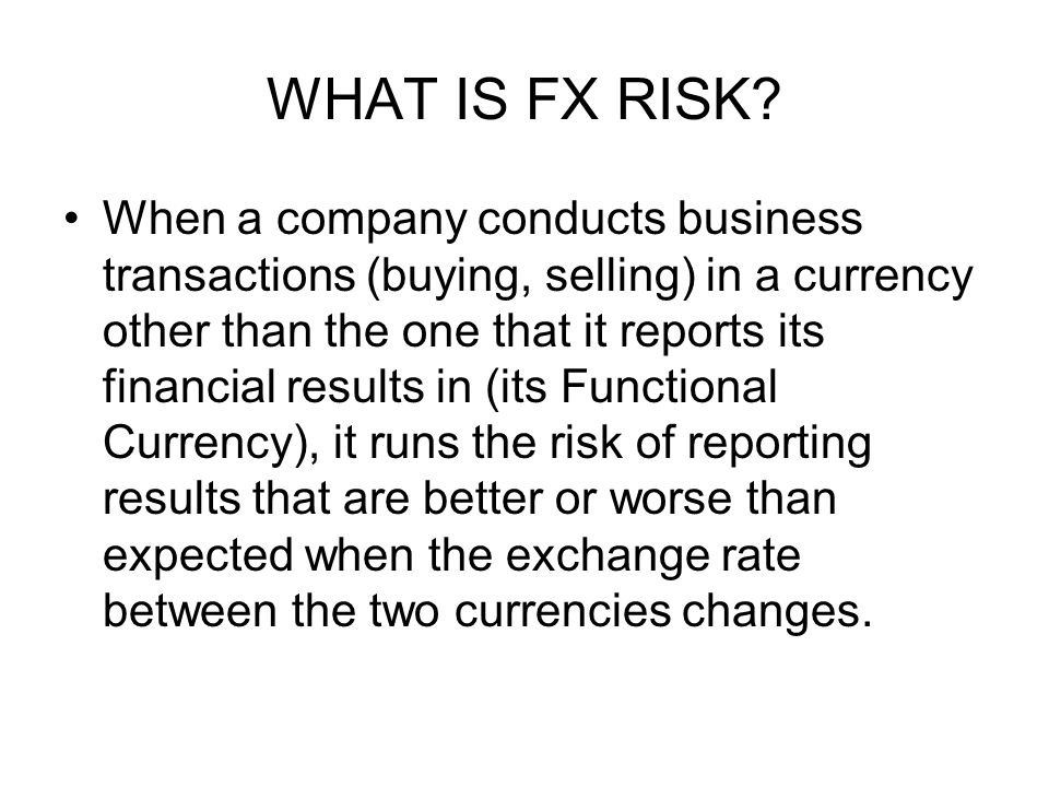 WHAT IS FX RISK.