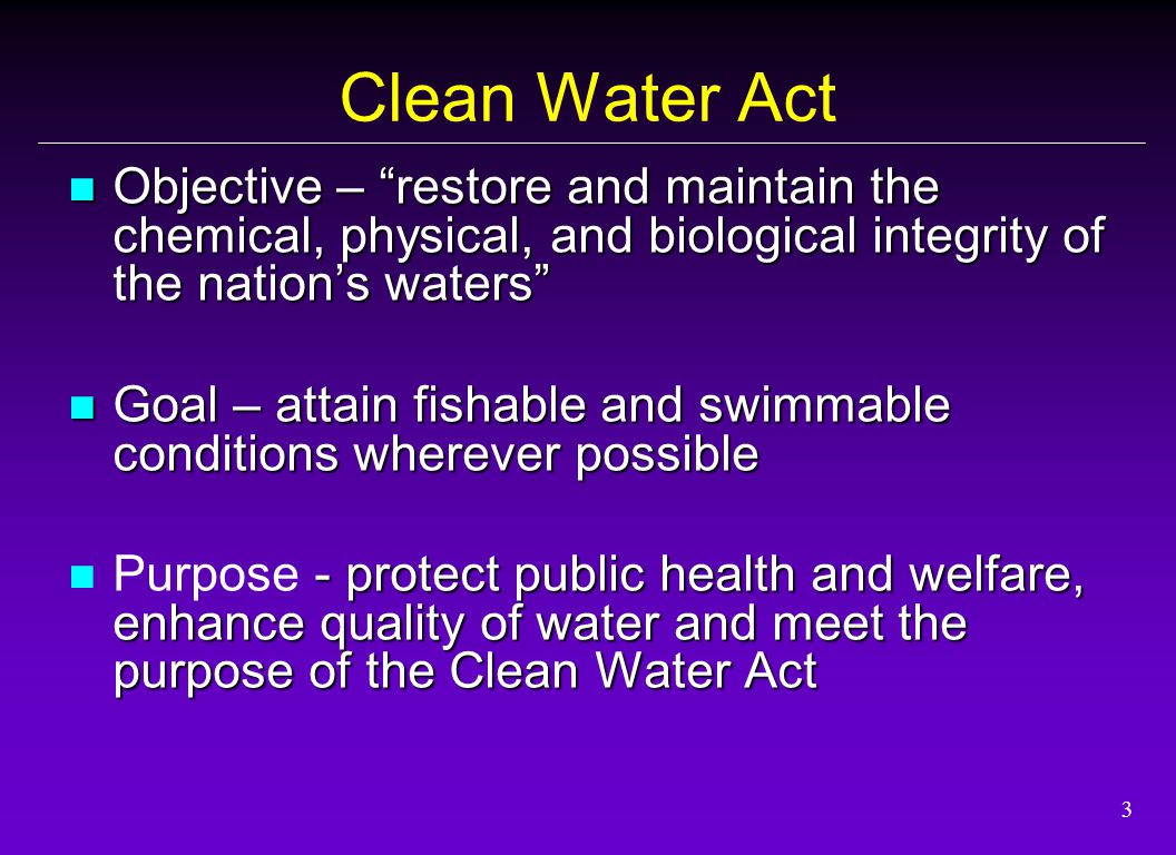 4 Clean Water Act 1) Designated beneficial uses 2) Criteria to protect beneficial use 3) Antidegradation provision (RMHQ) KEY ELEMENTS - of Water Quality Standards