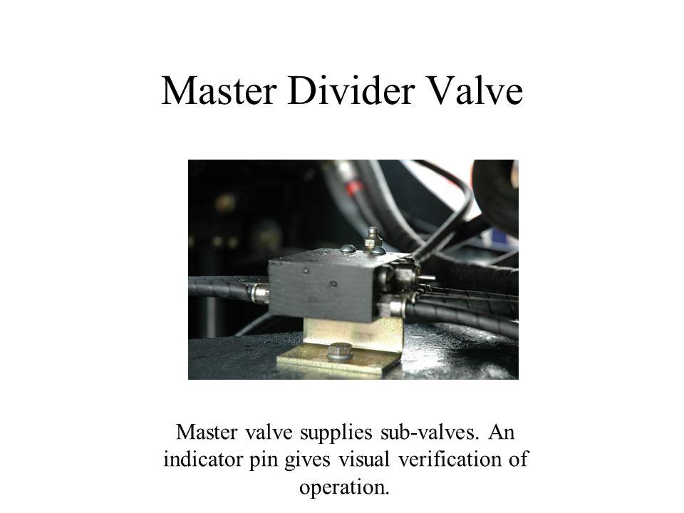 Master Divider Valve Master valve supplies sub-valves.