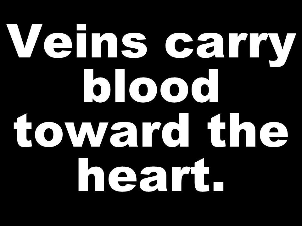 Veins carry blood toward the heart.