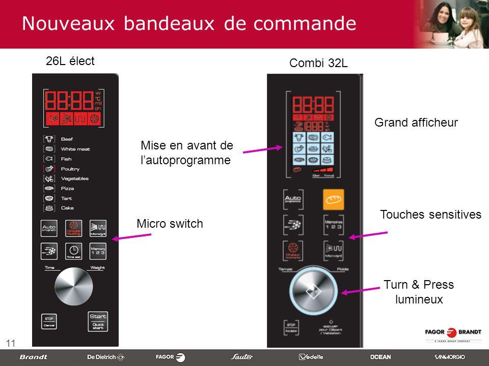 11 Nouveaux bandeaux de commande Touches sensitives Turn & Press lumineux Combi 32L Grand afficheur 26L élect Micro switch Mise en avant de l'autoprog