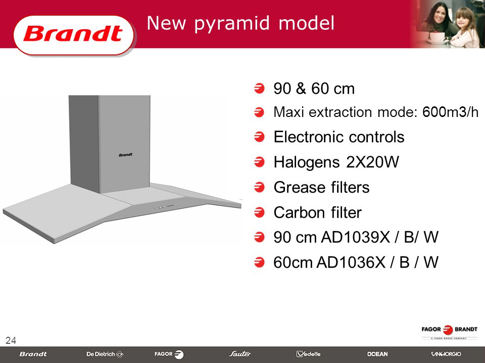 24 New pyramid model 90 & 60 cm Maxi extraction mode: 600m3/h Electronic controls Halogens 2X20W Grease filters Carbon filter 90 cm AD1039X / B/ W 60cm AD1036X / B / W