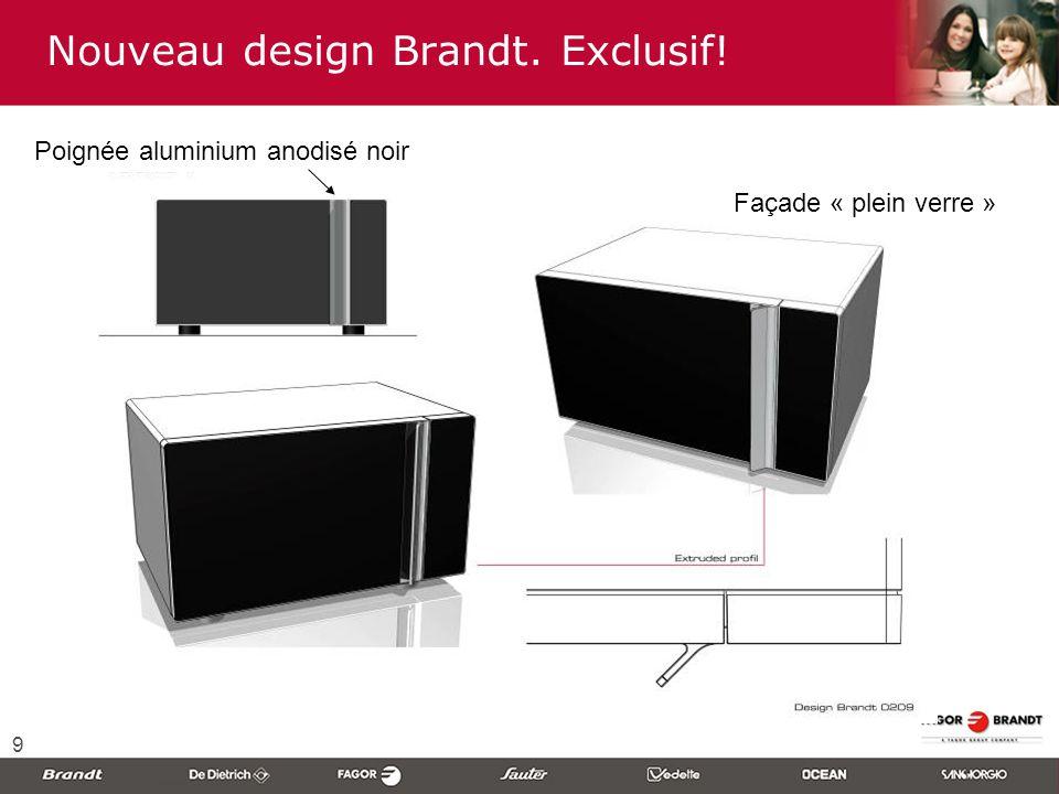 9 Nouveau design Brandt. Exclusif! Poignée aluminium anodisé noir Façade « plein verre »