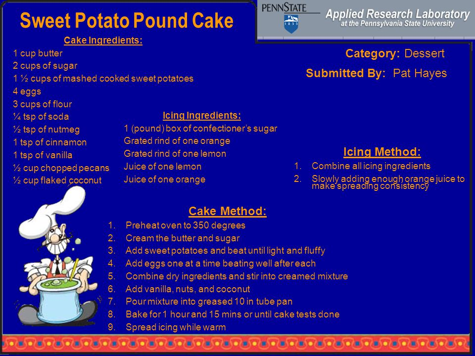 Sweet Potato Pound Cake Category: Dessert Cake Ingredients: 1 cup butter 2 cups of sugar 1 ½ cups of mashed cooked sweet potatoes 4 eggs 3 cups of flour ¼ tsp of soda ½ tsp of nutmeg 1 tsp of cinnamon 1 tsp of vanilla ½ cup chopped pecans ½ cup flaked coconut Cake Method: 1.Preheat oven to 350 degrees 2.Cream the butter and sugar 3.Add sweet potatoes and beat until light and fluffy 4.Add eggs one at a time beating well after each 5.Combine dry ingredients and stir into creamed mixture 6.Add vanilla, nuts, and coconut 7.Pour mixture into greased 10 in tube pan 8.Bake for 1 hour and 15 mins or until cake tests done 9.Spread icing while warm Submitted By: Pat Hayes Icing Method: 1.Combine all icing ingredients 2.Slowly adding enough orange juice to make spreading consistency Icing Ingredients: 1 (pound) box of confectioner's sugar Grated rind of one orange Grated rind of one lemon Juice of one lemon Juice of one orange
